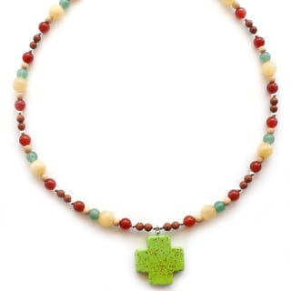 Every Morning Design Lime Green Turquoise Magnesite Cross