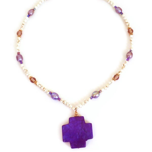 Every Morning Design Purple Turquoise Cross With Lilac Pearls