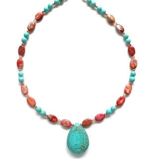 Every Morning Design Turquoise and Pink Jasper Necklace