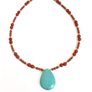 Every Morning Design Turquoise Drop On Red Jasper And Goldstone Necklace