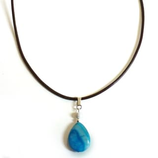 Every Morning Design Blue Agate Drop Necklace