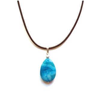 Every Morning Design Blue Agate Pendant Necklace