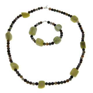 Multi-colored Jade and Jasper Jewelry Set