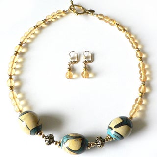 'Sunshine and Daffodils' Necklace and Earring Set