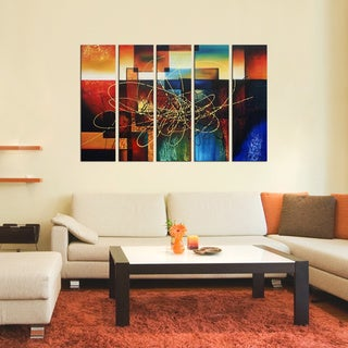 'Abstract 403' 5-piece Gallery-wrapped Hand Painted Canvas Art Set