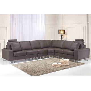 Contemporary Brown Leather Sectional Couch