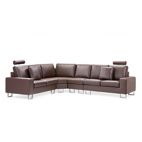 & Contemporary Sofa Brown Leather Sectional Couch - DC &