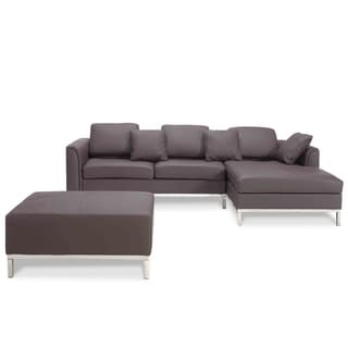 Brown Leather L-shape Corner Sofa with Ottoman