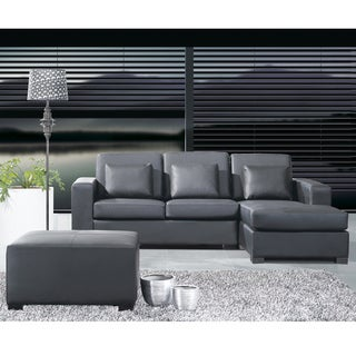 Black Leather L-shape Corner Sofa with Ottoman