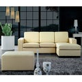 Beige Leather L-shape Corner Sofa with Ottoman