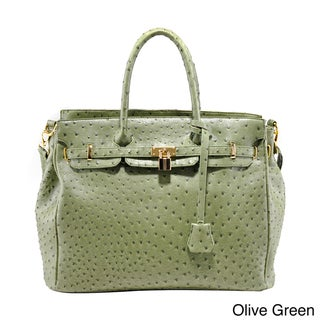 Emperia Ostrich Embossed Texture and Tassel Tote Bag