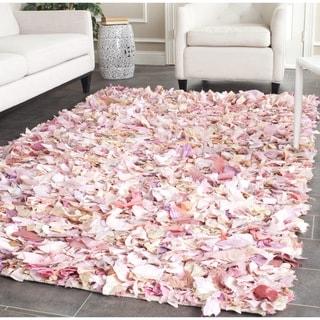 Safavieh Hand-woven Chic Pink Shag Rug (8' Square)