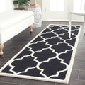 "Safavieh Handmade Cambridge Moroccan Black Contemporary Wool Rug (2'6"" x 12')"