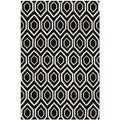 Handmade Moroccan Black Contemporary Wool Rug (4' x 6')