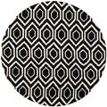 Handmade Moroccan Black Wool Rug with Thick Pile (7' Round)