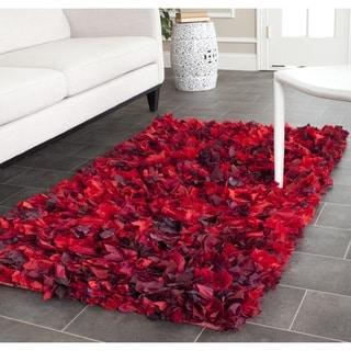 Safavieh Hand-woven Chic Red Shag Rug (3' x 5')