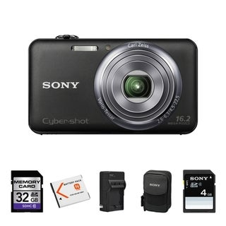 Sony Cyber-shot DSC-WX70 16.2MP Black Digital Camera 32GB Bundle