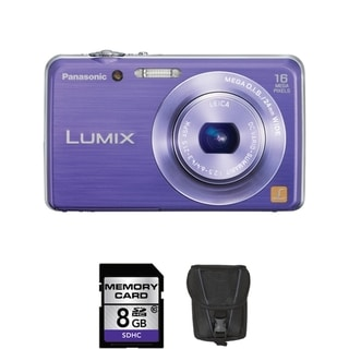 Panasonic Lumix DMC-FH-8 16.1MP Violet Digital Camera 8GB Bundle