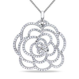 Miadora 14k White Gold 1ct TDW Diamond Flower Necklace (G-H, SI1-SI2)