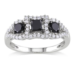 Miadora Sterling Silver 1ct TDW Black and White Diamond 3-stone Ring (H-I, I2-I3)
