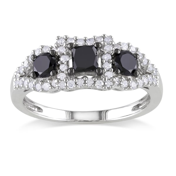 Miadora Sterling Silver 1ct TDW Black and White Diamond 3-stone Ring (H-I, I2-I3)