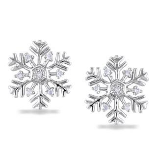 M by Miadora Sterling Silver Diamond Snowflake Earrings