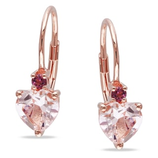 Miadora Rose-plated Silver Morganite and Pink Tourmaline Heart Earrings