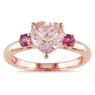 Miadora Rose-plated Silver Heart-cut Morganite and Pink Tourmaline Ring