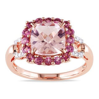 Miadora Rose-plated Silver Morganite, Tourmaline and Diamond Ring