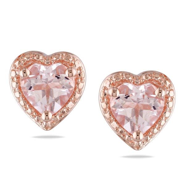 Miadora Rose-plated Silver Morganite Heart Stud Earrings