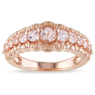 Miadora Rose-plated Silver 1ct TGW Morganite Ring