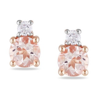 Miadora 10k Rose Gold Morganite and Diamond Stud Earrings