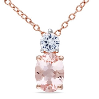 Miadora Rose-plated Silver Morganite and White Sapphire Necklace