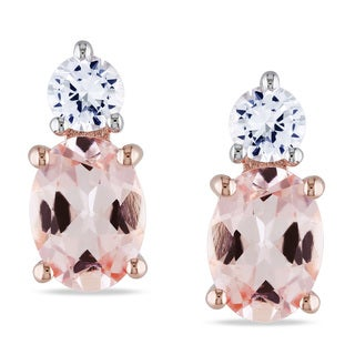 Miadora Rose-plated Silver Morganite and Created White Sapphire Earrings