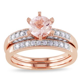 Miadora 10k Rose Gold Morganite and 1/3ct TDW Diamond Bridal Ring Set (G-H, I2-I3)