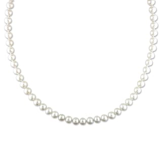 Miadora Freshwater White Pearl Endless Necklace (6.5-7 mm)