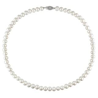 Miadora Sterling Silver Freshwater White Pearl Necklace (6.5-7 mm)