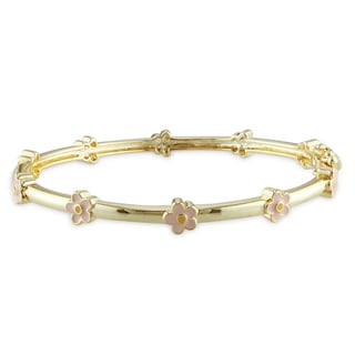 Miadora 18k Goldplated Children's Enamel Flower Bangle