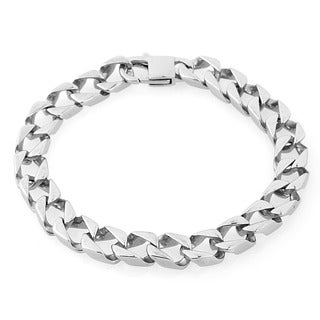 West Coast Jewelry Stainless Steel Square Link Bracelet