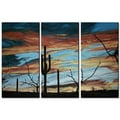 Patricia Ackor 'Sunset with Saguaro III' 3-piece Metal Wall Hanging Set