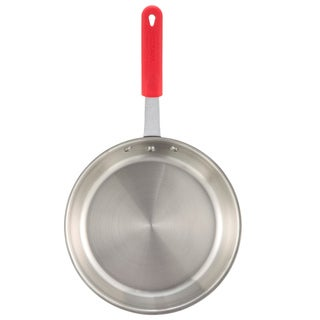 Winco Apollo 8-inch 3-ply Fry Pan with Red Silicone Sleeve Handle