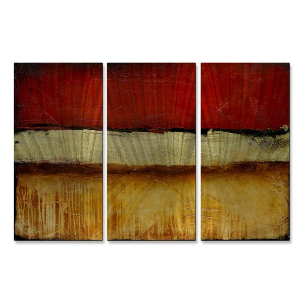 Erin Ashley Shanghai Red 3 Piece Metal Wall Art Set