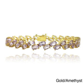 Glitzy Rocks Goldtone Gemstone 2-row Zig-zag Design Bracelet