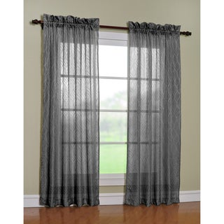 Cleopatra Charcoal 84-inch Curtain Panel Pair
