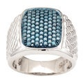 Sterling Silver Men's 1 1/5ct TDW Blue Diamond Ring