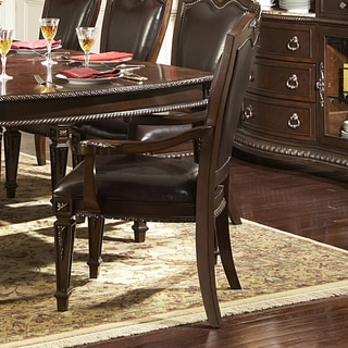 TRIBECCA HOME Tusca Dark Brown Bi-Cast Leather Arm Chairs (Set of 2)
