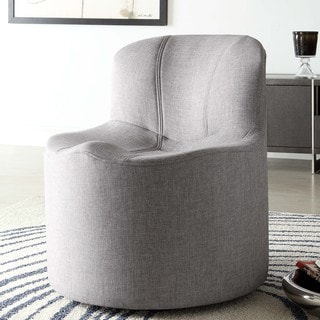 Bridgeport Ergonomic Contour Grey Linen Swivel Modern Accent Chair