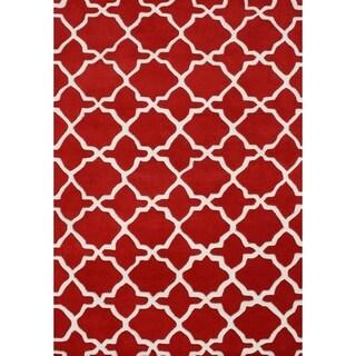Handmade Tufted Red Wool Blend Rug (8' x 10')