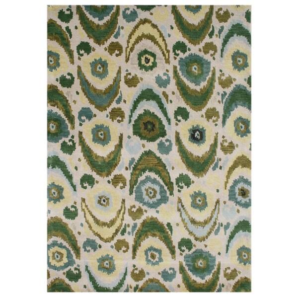 Alliyah Handmade Ikat Pattern Olive Green New Zealand Blend Wool Rug (9' x 12')