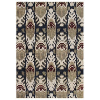 Alliyah Handmade IKAT' Black New Zealand Blend Wool/ Viscose Silk Rug (9' x 12')